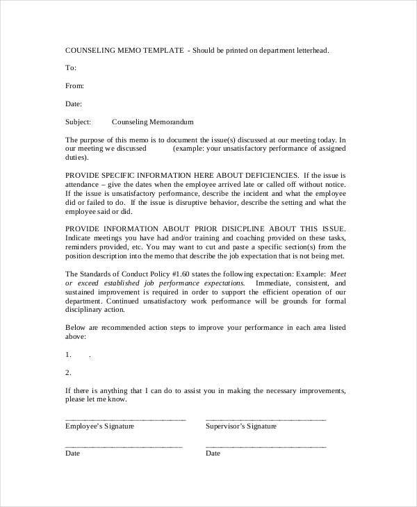 formal counseling memo template