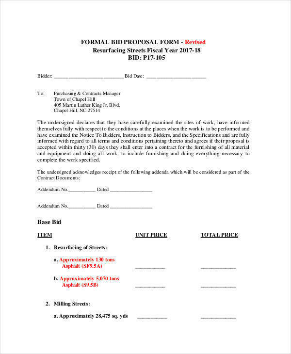 formal proposal for bid