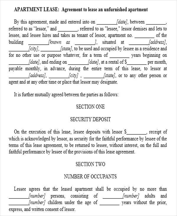 free apartment lease agreement
