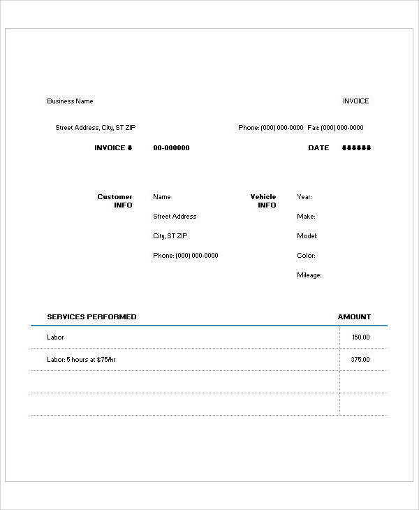 Freelance Design Invoice Template Excel Sample Auto Repair Invoice   Examples In Pdf Word Excel Organise Receipts Excel with Costco Return Policy With Receipt Word Free Auto Repair Invoice Free Template For Invoices Word