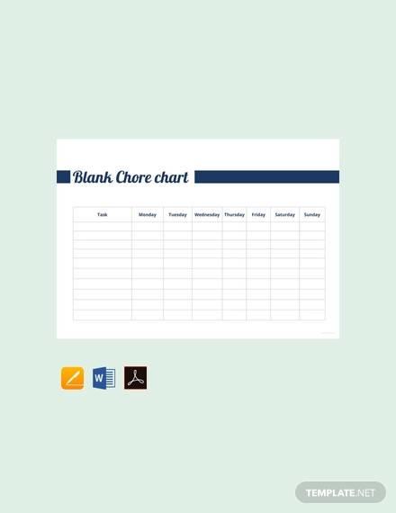 free blank chore chart template