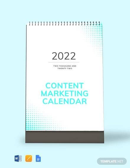 free content marketing desk calendar template