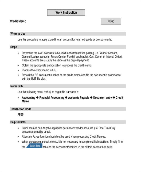 8 Credit Memo Templates - Free Sample, Example, Format Download