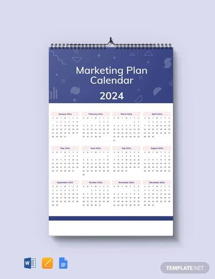 free marketing plan desk calendar template