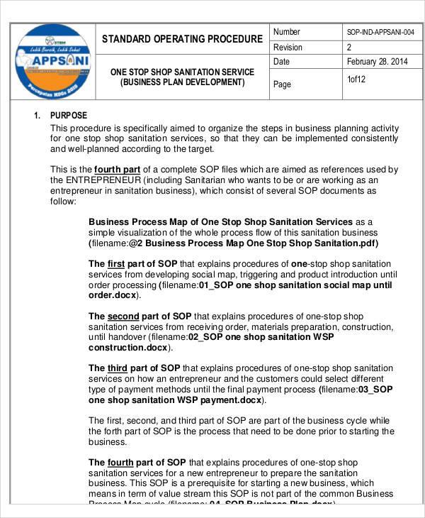 Free Printable Business SOP  Free Sop Templates