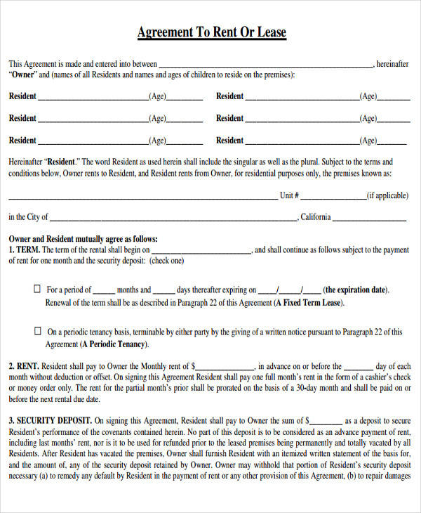 free rental lease form