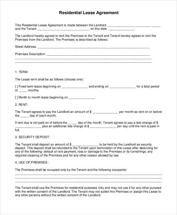free residential lease agreement1