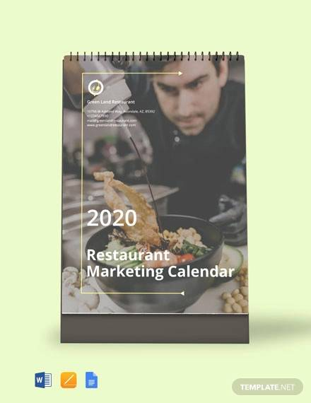 free restaurant marketing desk calendar template