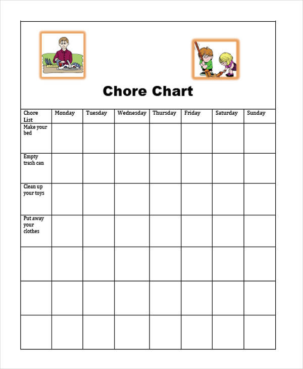 Sample Chore Charts  Free Sample Example Format Download