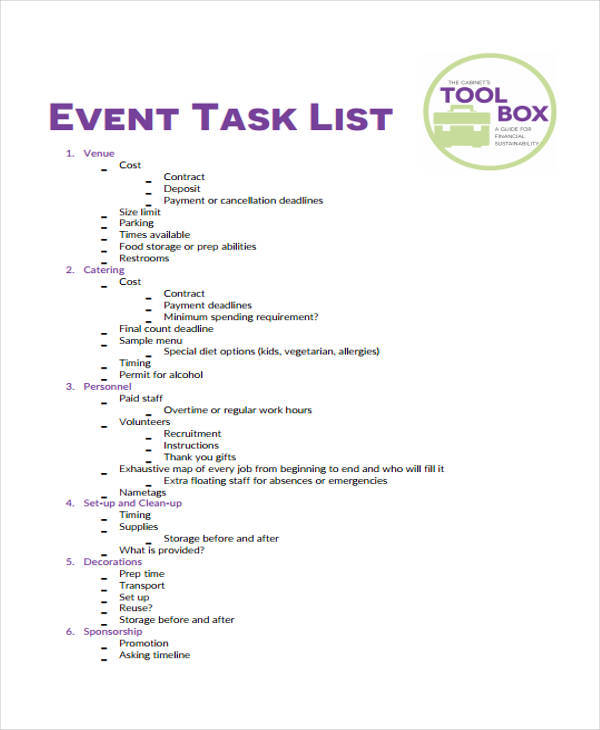Task List Samples In Pdf