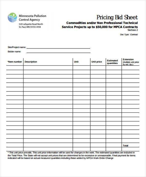 free sheet for bid