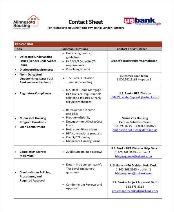 free sheet for contact