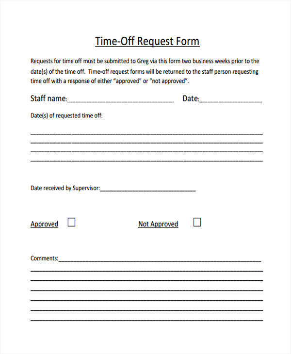 Time Off Request Forms  NinjaTurtletechrepairsCo