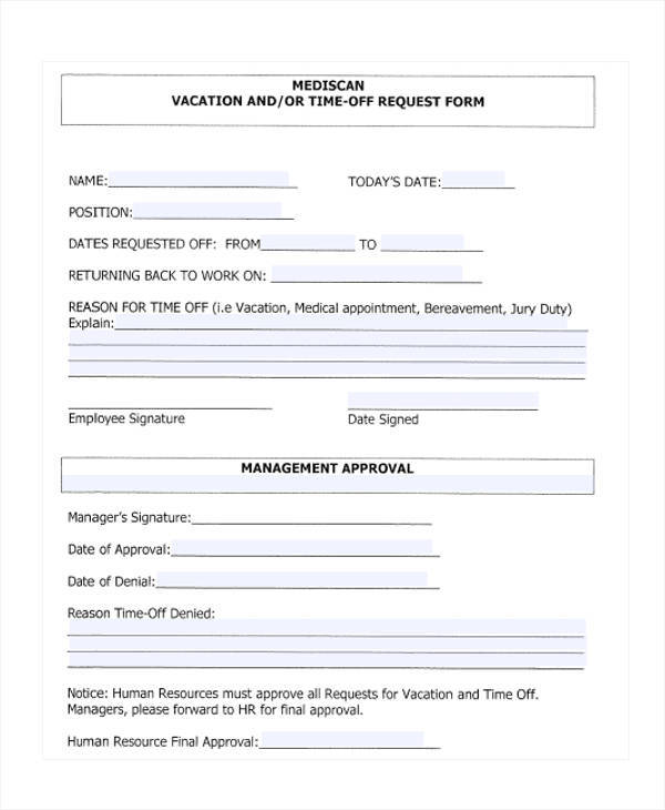 free vacation time off request form