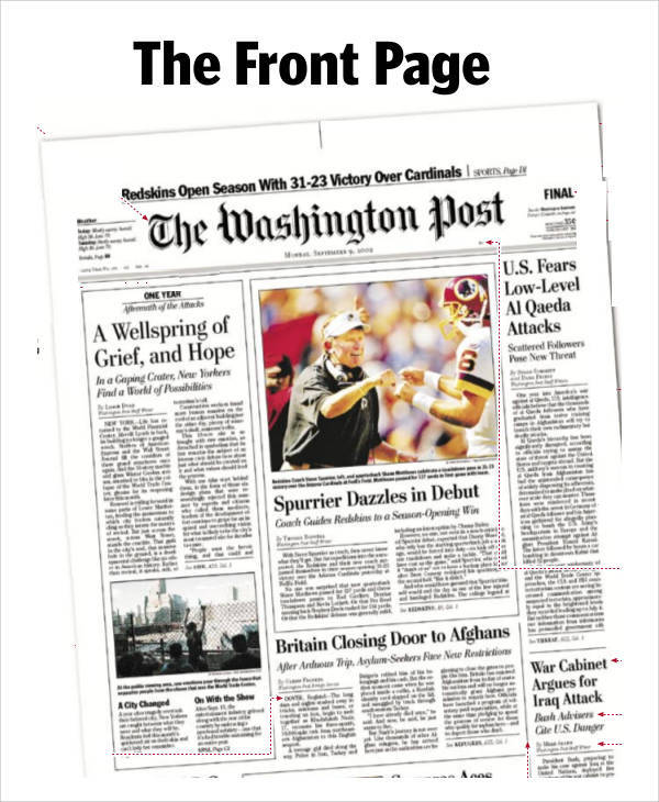 front page newspaper