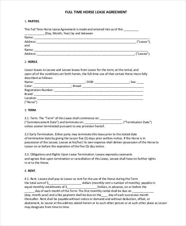 full time horse lease agreement1