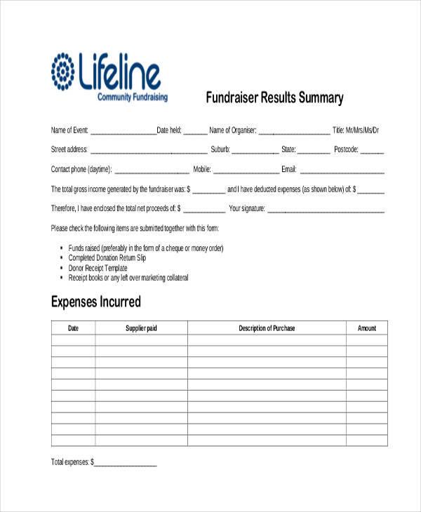 fundraiser donation receipt