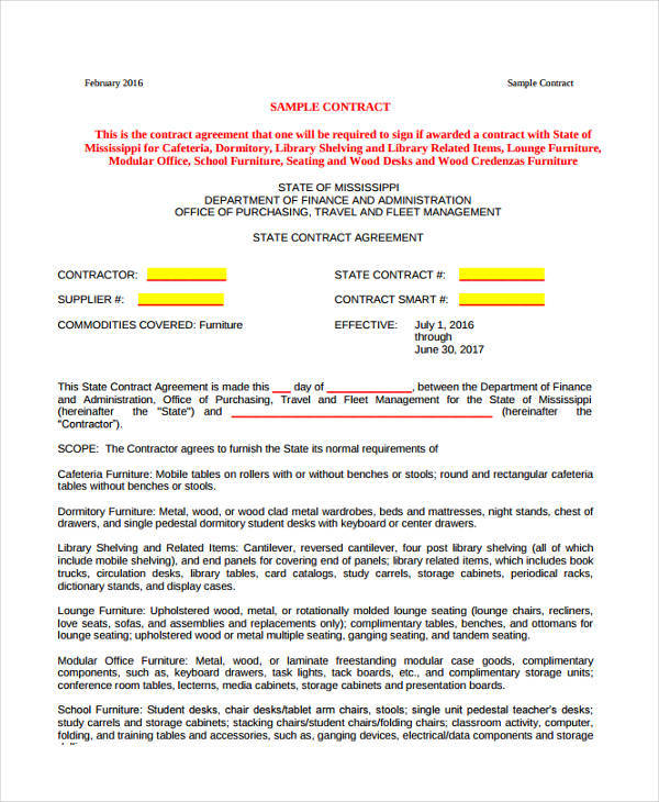 furniture purchase contract