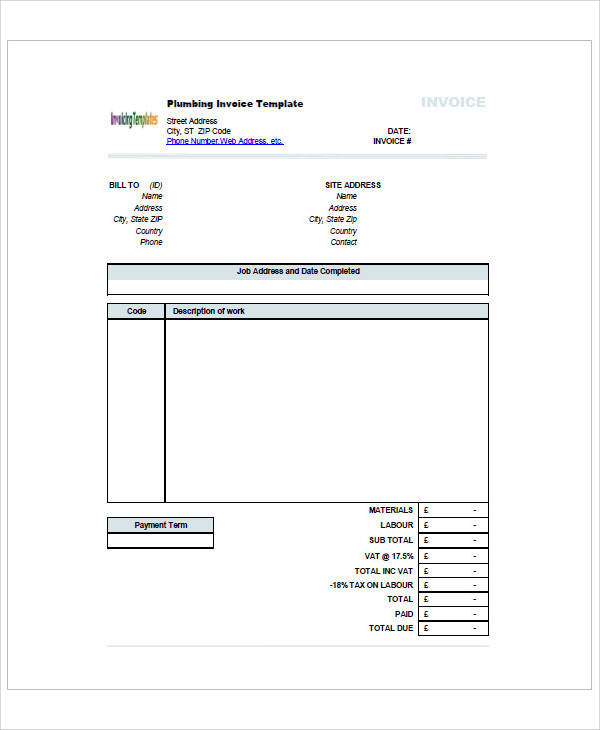 Sample Plumbing Invoice   Examples In Pdf Excel