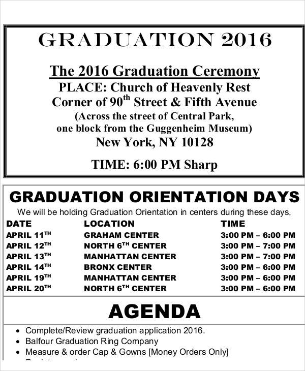 graduation ceremony agenda