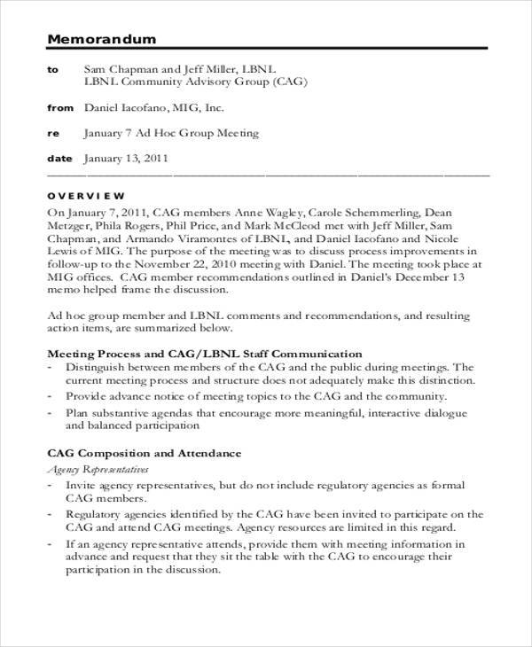 Meeting Memo | Staff Meeting Memo Sample Trisa Moorddiner Co