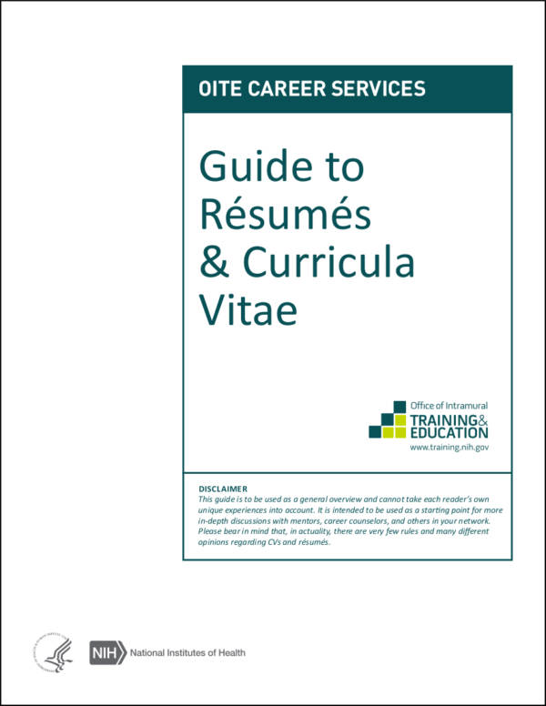 guide to resumes curricula vitae