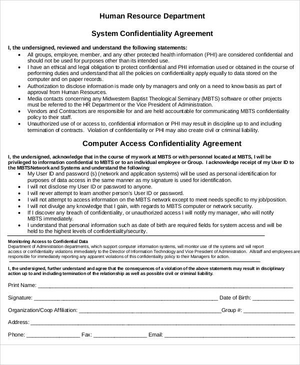 Hr Confidentiality Agreements  Free Sample Example Format Download