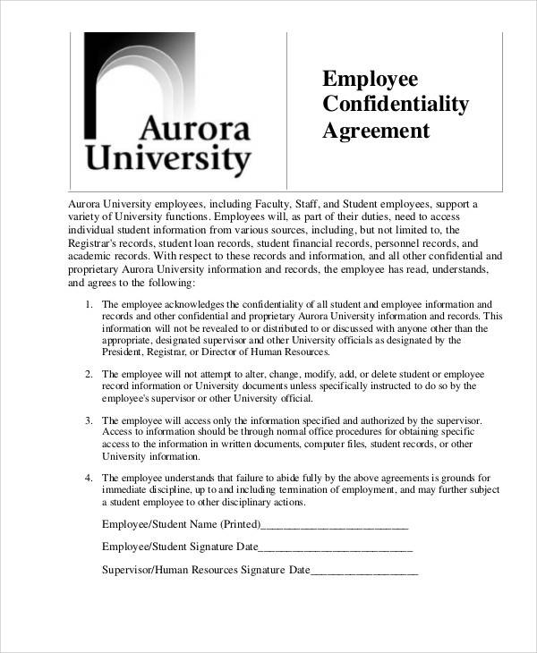 Hr Confidentiality Agreements  Free Sample Example Format