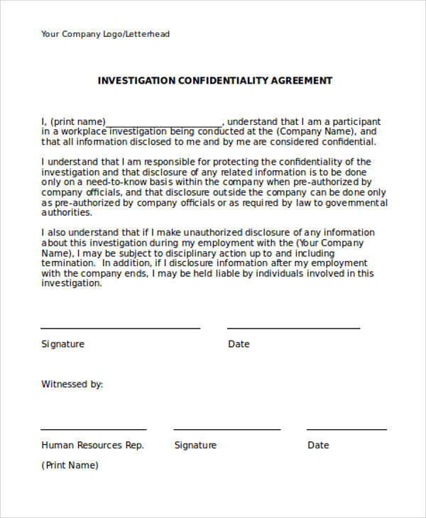 8 Hr Confidentiality Agreements - Free Sample, Example, Format
