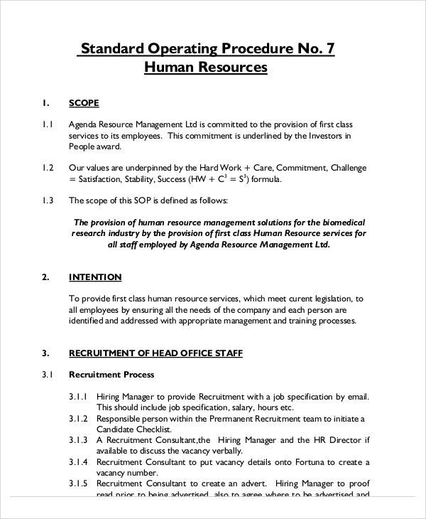 hr sop template 33 sop templates in pdf sample templates