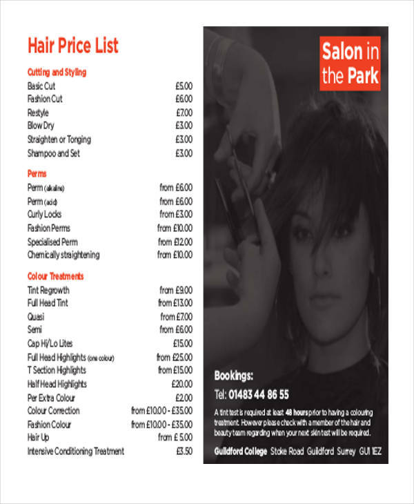 45 price list samples templates sample templates hair salon price list sample maxwellsz