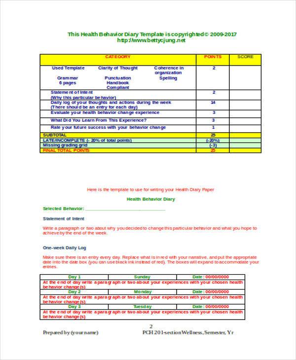 health behavior log sample