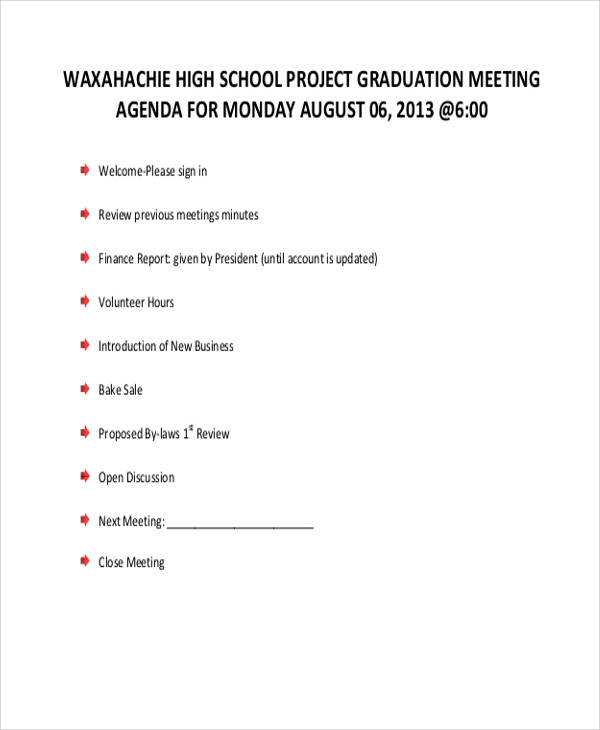 high school graduation agenda