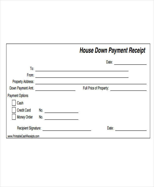 house down payment slip
