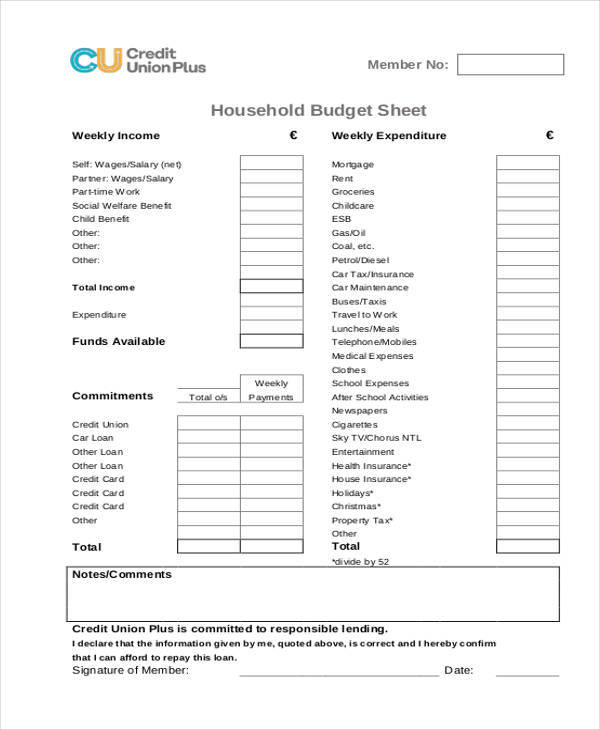 household budget sheet