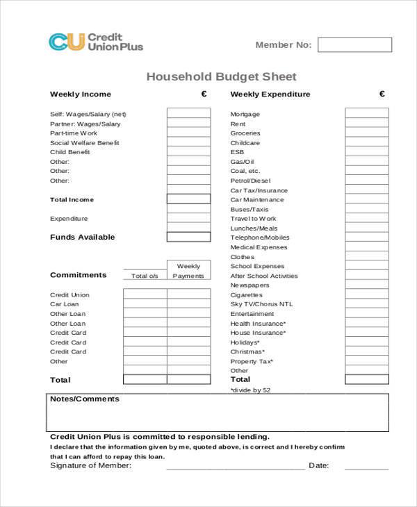 household budget sheet1