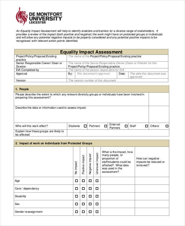impact equality assessment