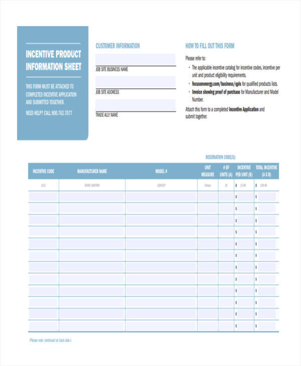 incentive product information sheet