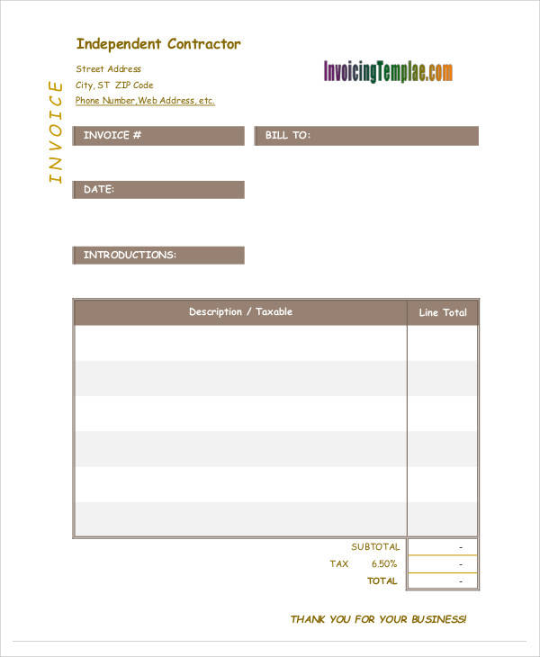 independent contract invoice