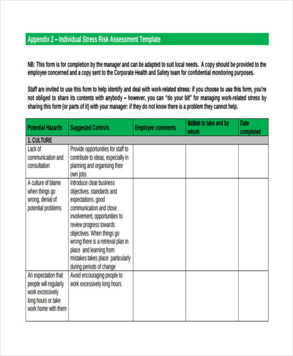 individual stress risk assessment form