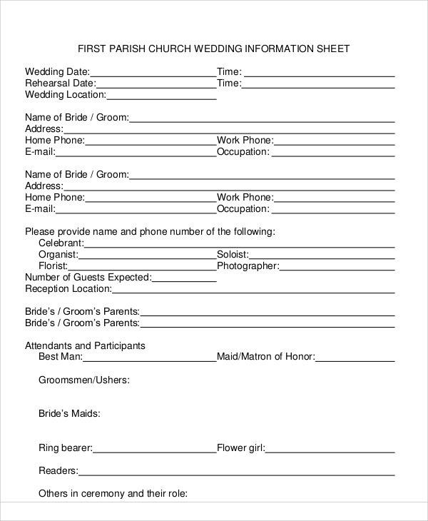information sheet for church wedding