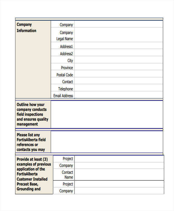 information sheet for construction company