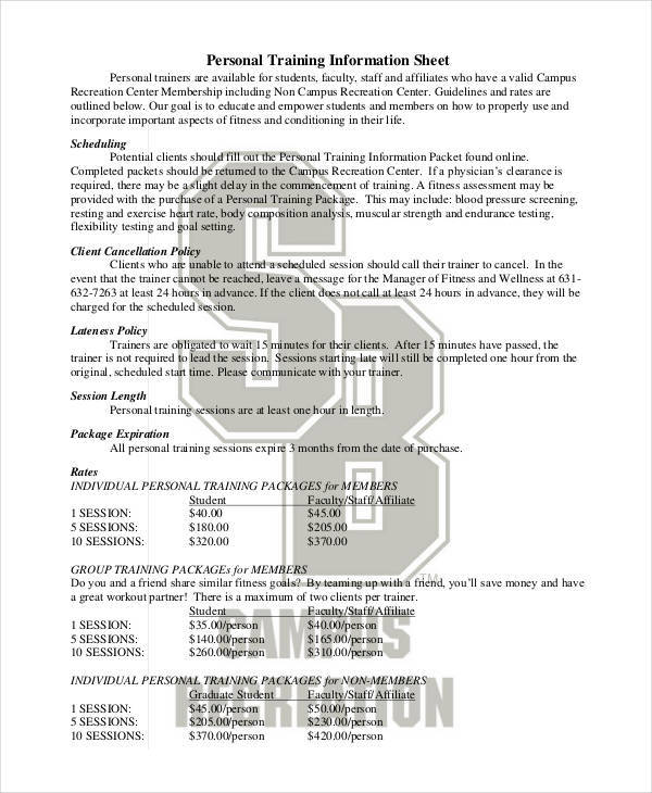 information sheet for personal training