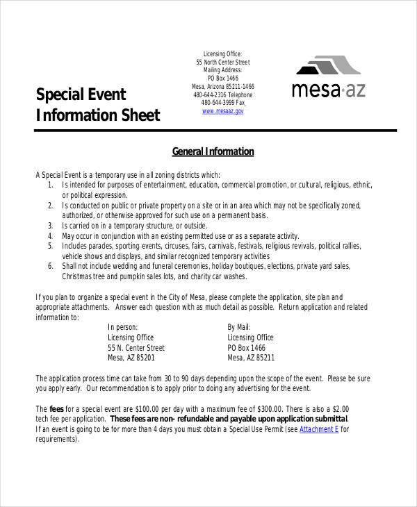 42  information sheet templates