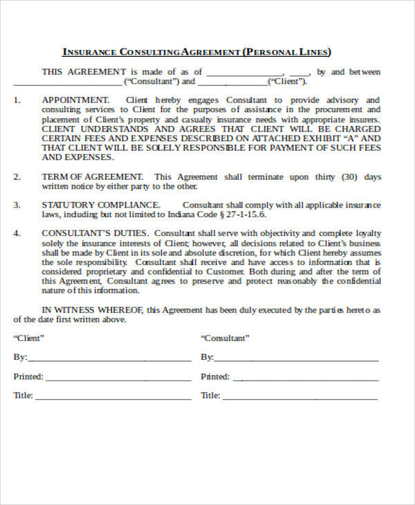 insurance consulting agreement