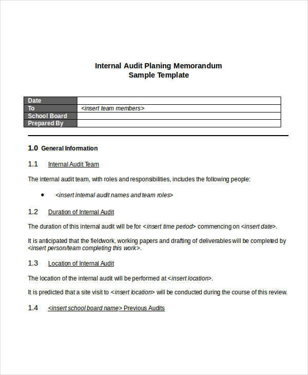 internal audit planning memo