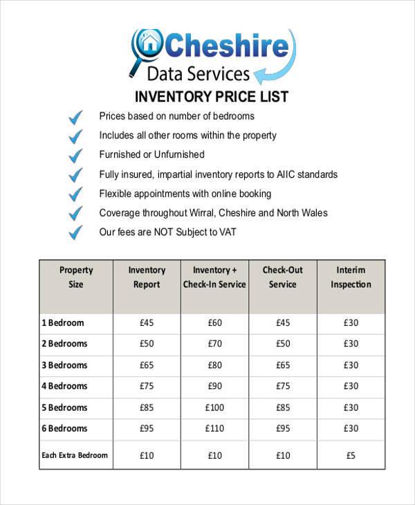 inventory price list example