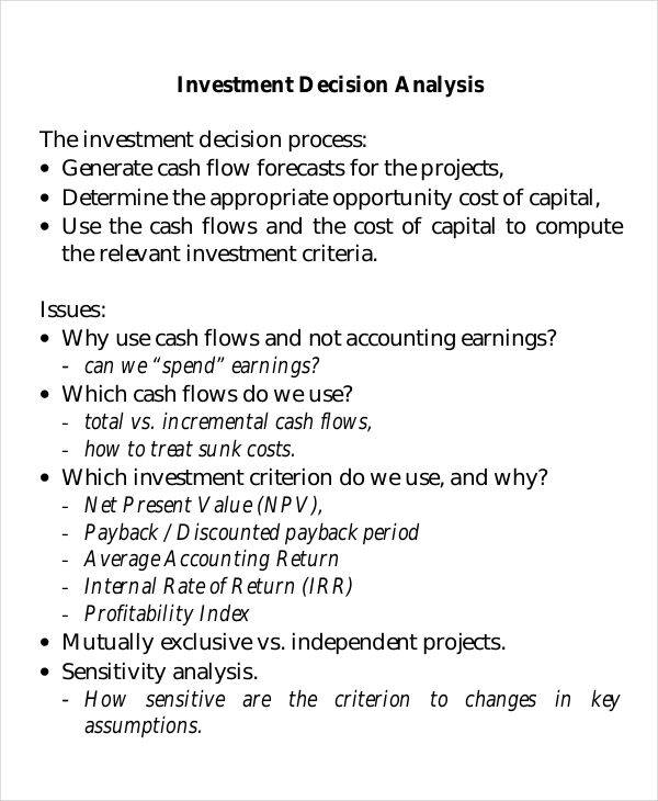 investment decesion analysis
