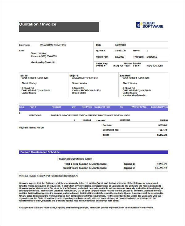 invoice quotation in pdf
