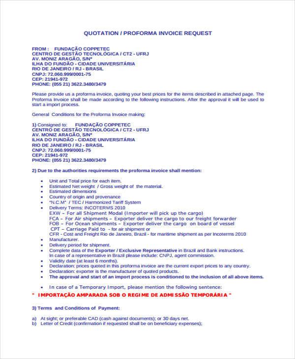 invoice request quotation
